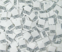 White 12 Month Woven Infant Clothing Sewing Garment Label Size Tags (50-1000pcs)
