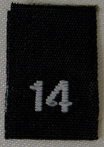 Black Woven Clothing Sewing Garment Label Size Tags - 14 - FOURTEEN (50-1000pcs)