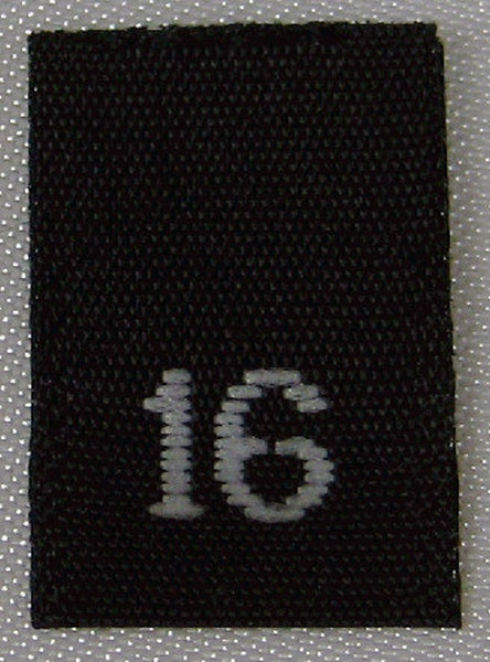 Black Woven Clothing Sewing Garment Label Size Tags - 16 - SIXTEEN (50-1000pcs)