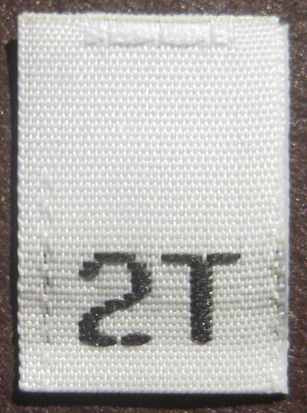 White 2T Woven Toddler Clothing Sewing Garment Label Size Tags (50-1000pcs)