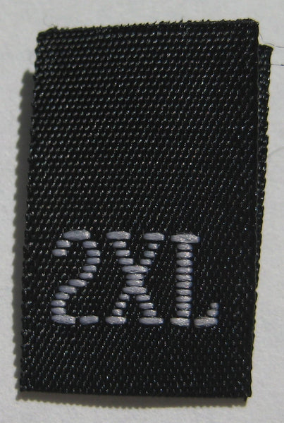 Black Woven Clothing Sewing Garment Label Size Tags - 2XL - Extra Extra Large (50-1000pcs)