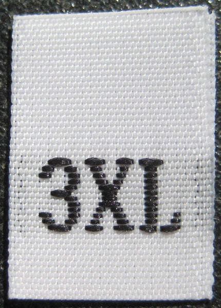 White Woven Clothing Sewing Garment Label Size Tags - 3XL - XXXL (50-1000pcs)