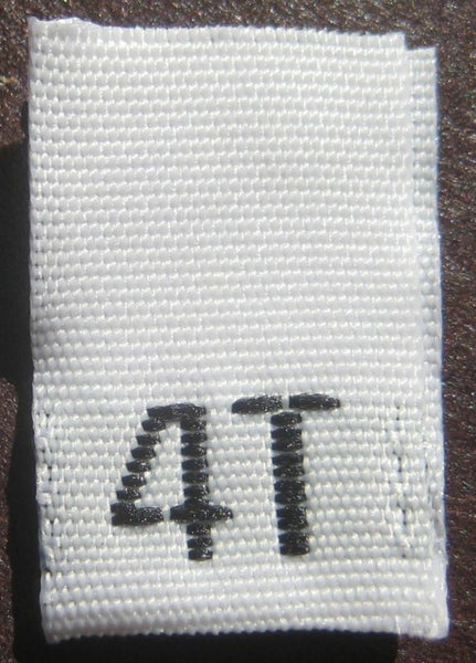 White 4T Woven Toddler Clothing Sewing Garment Label Size Tags (50-1000pcs)