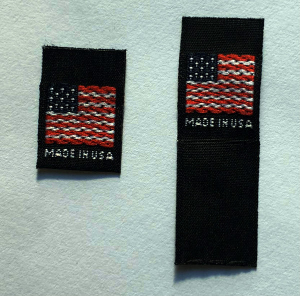 Black Woven American Flag Made in USA Folded Clothing Sewing Garment Label Tags (25-1000pcs)