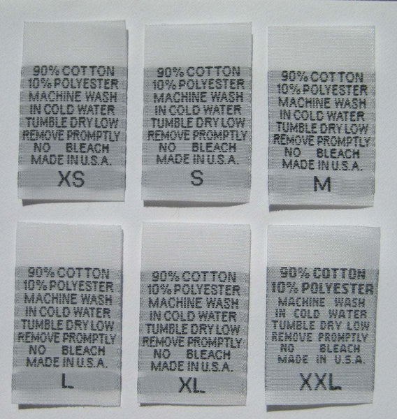 White 90% Cotton 10% Polyester XS-XXL Woven Clothing Sewing Garment Care Label Tags (100-1000pcs)