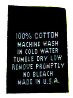 Black 100% Cotton Woven Clothing Sewing Garment Care Label Tags (50-1000pcs)