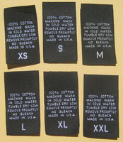 Black 100% Cotton XS-XXL Woven Clothing Sewing Garment Care Label Tags (100-1000pcs)