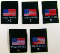 Black XS-XL Woven Clothing Sewing Garment Label Tags - American Flag Made in USA (50-10000pcs)