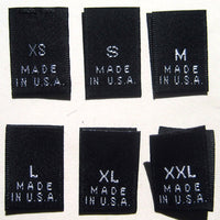 Bundle Size XS-XXL Made in USA Black Woven Clothing Sewing Garment Label Size Tags (60-1000pcs)