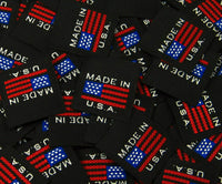 Black American Flag Made in USA Woven Clothing Sewing Garment Label Tags (25-10000pcs)