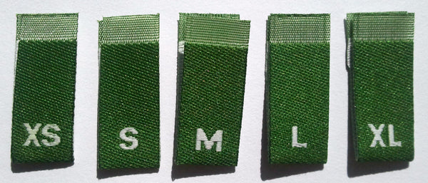 Bundle Size XS-XL Dark Green Woven Clothing Sewing Garment Label Size Tags (50-1000pcs)