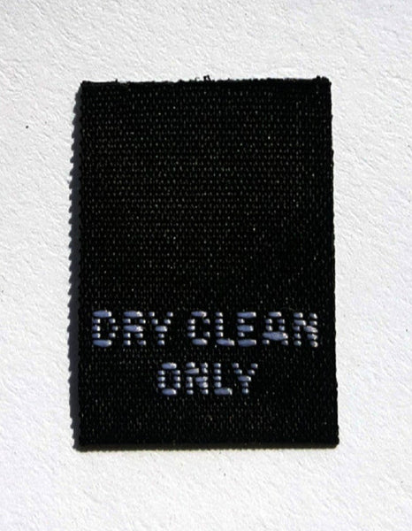Black Dry Clean Only Woven Clothing Sewing Garment Care Label Tags (50-1000pcs)