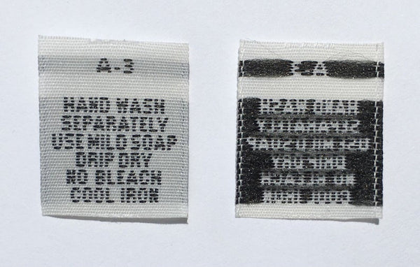 White Hand Wash Separately Woven Clothing Sewing Garment Care Label Tags (50-1000pcs)
