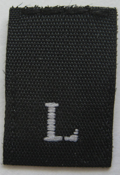 Black Woven Clothing Sewing Garment Label Size Tags - L - Large (50-1000pcs)