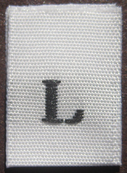 White Woven Clothing Sewing Garment Label Size Tags - L - Large (50-1000pcs)