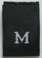Black Woven Clothing Sewing Garment Label Size Tags - M - Medium (50-1000pcs)