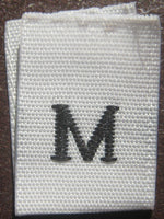 White Woven Clothing Sewing Garment Label Size Tags - M - Medium (50-1000pcs)