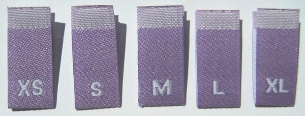Bundle Size XS-XL Purple Woven Clothing Sewing Garment Label Size Tags (50-1000pcs)