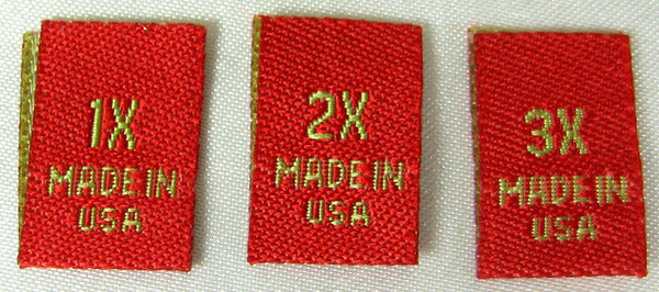 Bundle Size 1X 2X 3X Red Woven Clothing Sewing Garment Label Size Tags (50-1000pcs)