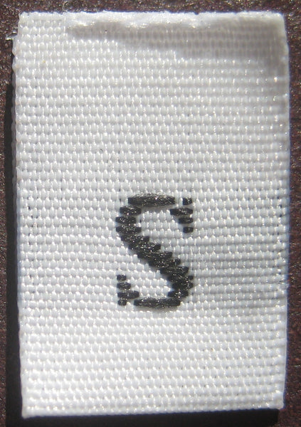 White Woven Clothing Sewing Garment Label Size Tags - S - Small (50-1000pcs)
