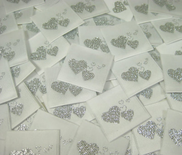 Silver Heart Woven Clothing Sewing Garment Label Tags (50-1000pcs)