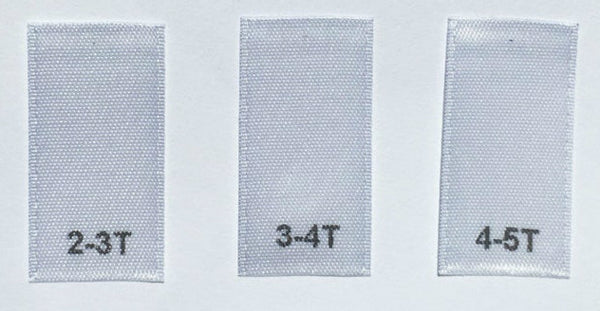 White Bundle 2T/3T 3T/4T 4T/5T Satin Toddler Clothing Sewing Garment Label Size Tags (50-1000pcs)