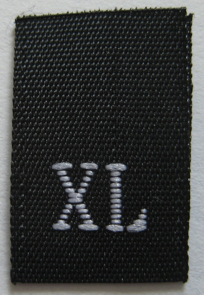 Black Woven Clothing Sewing Garment Label Size Tags - XL - Extra Large (50-1000pcs)