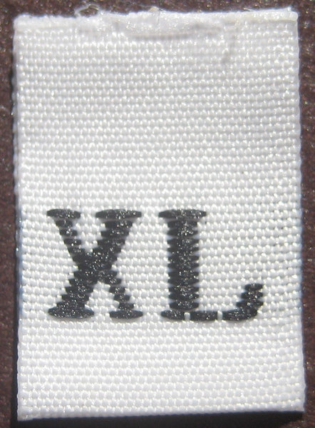 White Woven Clothing Sewing Garment Label Size Tags - XL - Extra Large (50-1000pcs)
