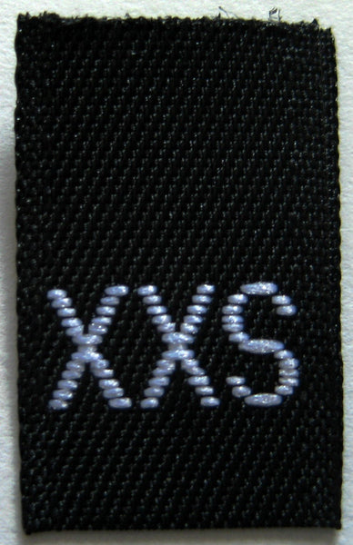 Black Woven Clothing Sewing Garment Label Size Tags - XXS - Extra Extra Small (50-1000pcs)
