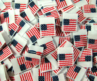 White Woven American Flag Folded Double Sided Clothing Sewing Garment Label Tags (25-10000pcs)