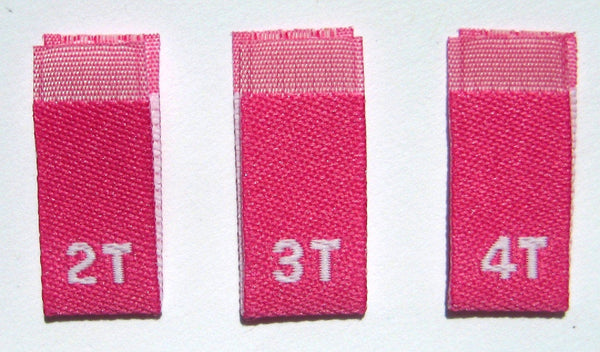 Rose Hot Pink Bundle 2T 3T 4T Woven Toddler Clothing Sewing Garment Label Size Tags (50-1000pcs)