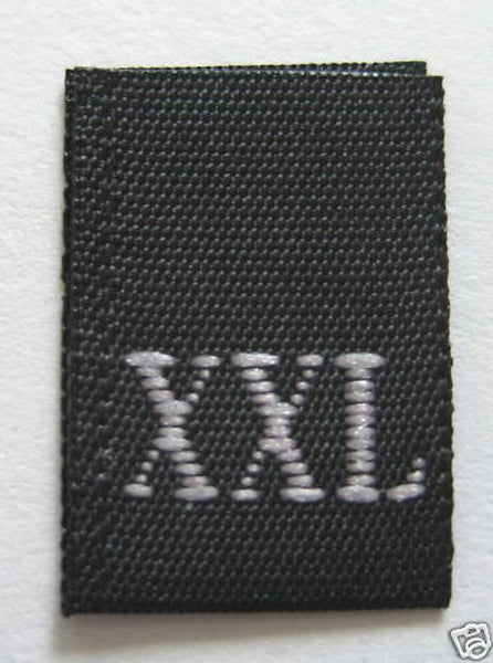 Black Woven Clothing Sewing Garment Label Size Tags - XXL - Extra Extra Large (50-1000pcs)