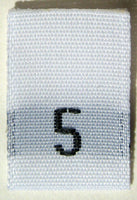White Woven Clothing Sewing Garment Label Size Tags - 5 - FIVE (50-1000pcs)