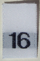 White Woven Clothing Sewing Garment Label Size Tags - 16 - SIXTEEN (50-1000pcs)