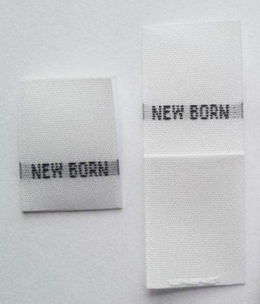 White New Born NB Woven Infant Clothing Sewing Garment Label Size Tags (50-1000pcs)