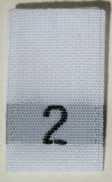 White Woven Clothing Sewing Garment Label Size Tags - 2 - TWO (50-1000pcs)