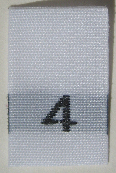White Woven Clothing Sewing Garment Label Size Tags - 4 - FOUR (50-1000pcs)