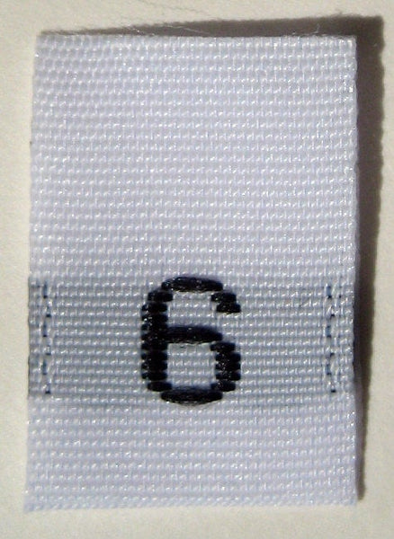 White Woven Clothing Sewing Garment Label Size Tags - 6 - SIX (50-1000pcs)