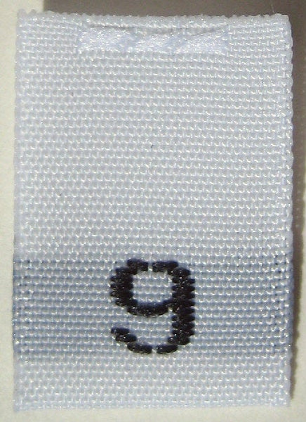 White Woven Clothing Sewing Garment Label Size Tags - 9 - NINE (50-1000pcs)