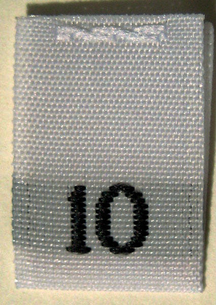White Woven Clothing Sewing Garment Label Size Tags - 10 - TEN (50-1000pcs)