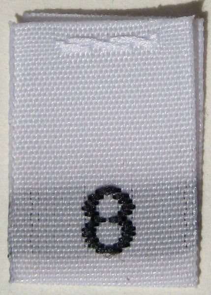 White Woven Clothing Sewing Garment Label Size Tags - 8 - EIGHT (50-1000pcs)