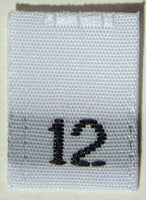 White Woven Clothing Sewing Garment Label Size Tags - 12 - TWELVE (50-1000pcs)