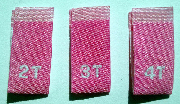 Light Pink Bundle 2T 3T 4T Woven Toddler Clothing Sewing Garment Label Size Tags (50-1000pcs)