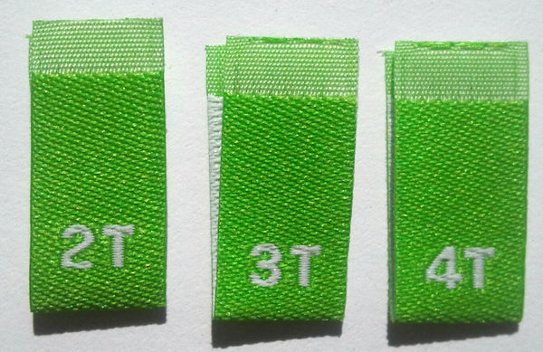 Lime Green Bundle 2T 3T 4T Woven Toddler Clothing Sewing Garment Label Size Tags (50-1000pcs)