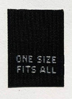 Black One Size Fits All Woven Clothing Sewing Garment Care Label Tags (50-1000pcs)