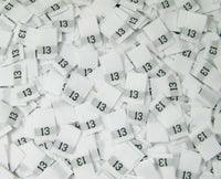 White Woven Clothing Sewing Garment Label Size Tags - 13 - THIRTEEN (50-1000pcs)