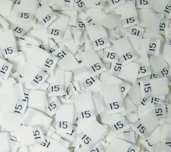 White Woven Clothing Sewing Garment Label Size Tags - 15 - FIFTEEN (50-1000pcs)