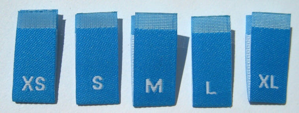 Bundle Size XS-XL Blue Woven Clothing Sewing Garment Label Size Tags (50-1000pcs)