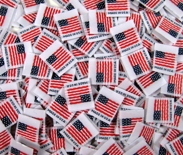 White Woven American Flag Made in USA Folded Double Sided Clothing Sewing Garment Label Tags (25-10000pcs)