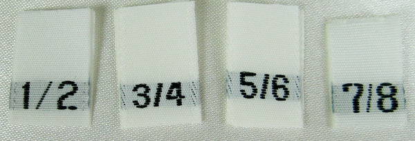 Bundle Size 1/2, 3/4, 5/6, 7/8 White Woven Clothing Sewing Garment Label Size Tags (100-1000pcs)